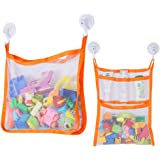 SUNDOKI Bath Toy Organizer, Bath Toy Holder Storage Bags with 4 Suction Cup Hooks and 2 Bath Toy Nets for Kids, Toddlers…