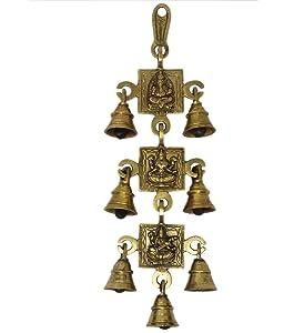 ShalinIndia Hindu Gods Ganesh Laxmi and Saraswati Image with 7 Bells Brass Wall Hanging (13 x 6 x 1-inch, 605 g)