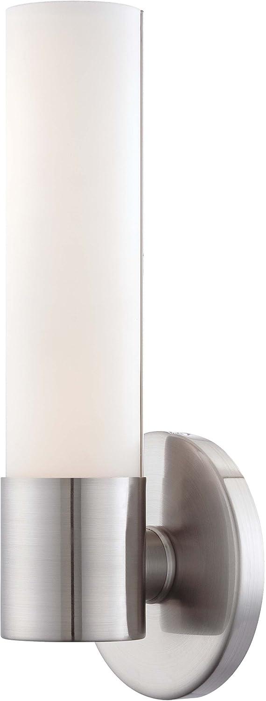 George Kovacs P5041 084 L, Saber Glass Wall Sconce Lighting, 1 Light LED, Brushed  Nickel     Amazon.com