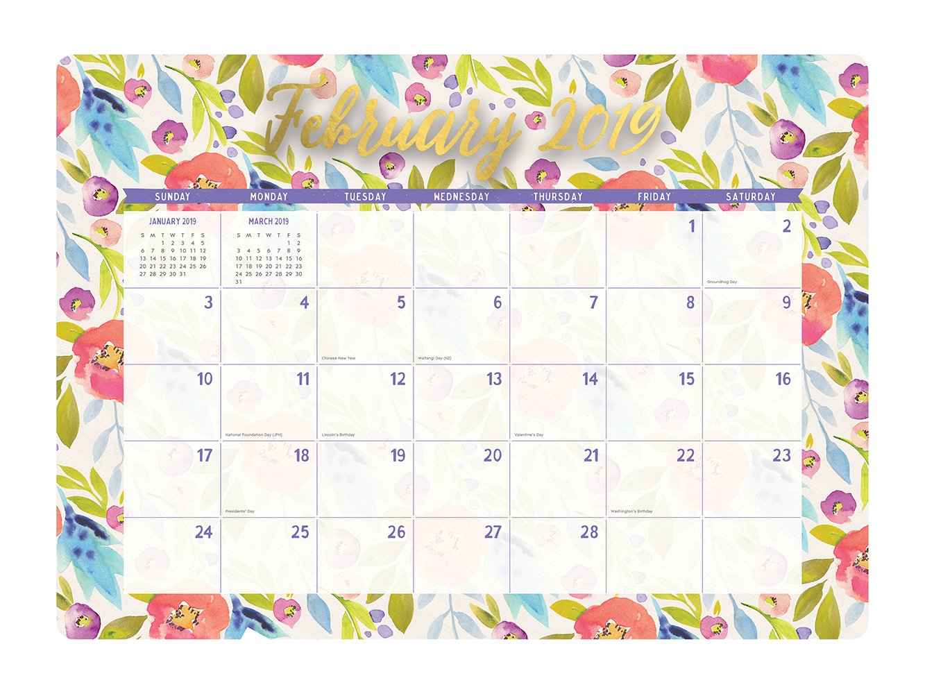 Orange Circle Studio 2019 Decorative Desk Blotter Calendar, August 2018 - December 2019, Bold Blossoms