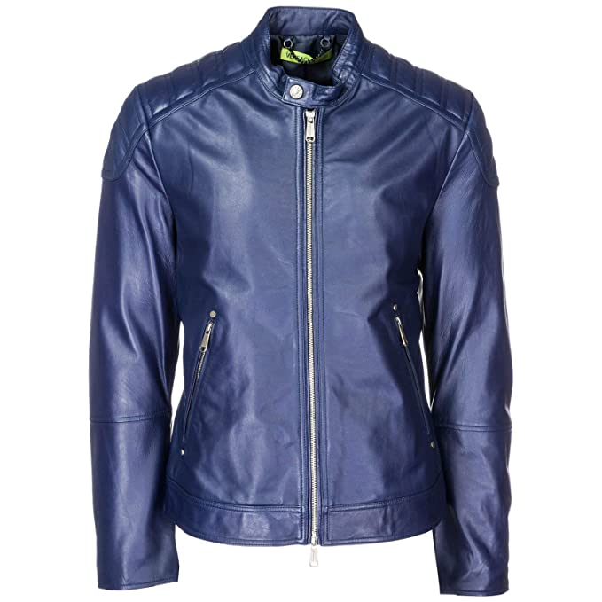 6b93f089a1 Versace Jeans Giubbotto di Pelle Uomo Blu: Amazon.it: Abbigliamento