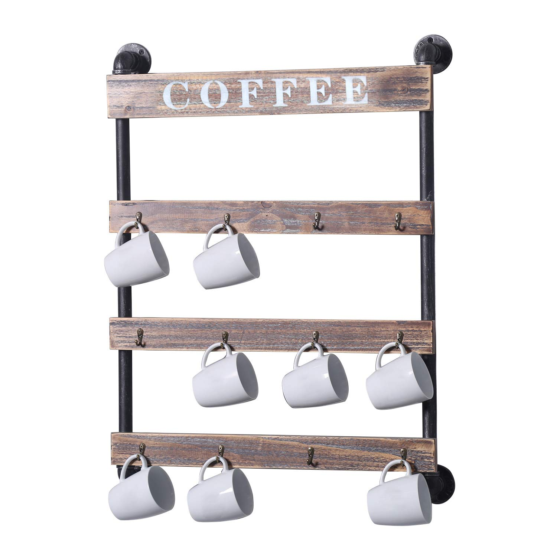 Industrial Pipe Metal Wood Coffee Mug Rack Wall Mounted Mug Holder,Kitchen Storage Display/Cup Rack,Rustic Cup Holder for Wall(12-Hook) by MBQQ