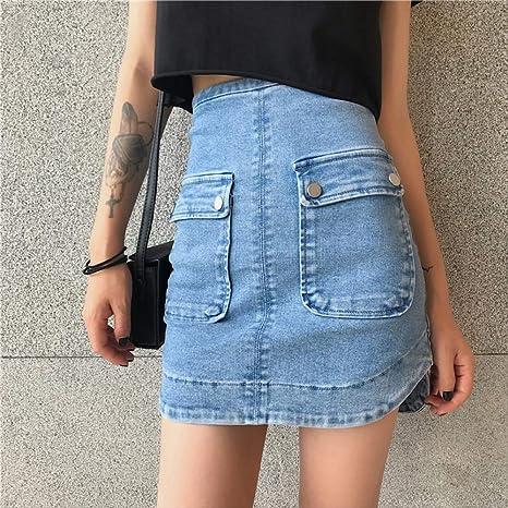 MIBKLPG Faldas para Mujer Verano Sólido Cintura Alta Falda Corta ...