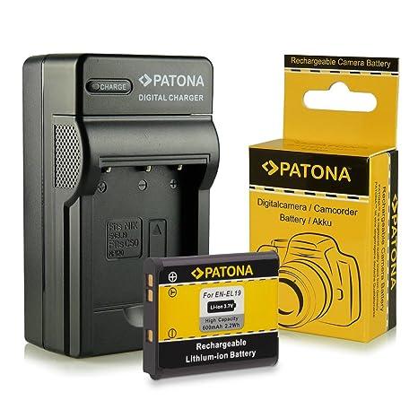 Cargador + Batería EN-EL19 para Nikon Coolpix S100 | S2500 | S2550 | S2600 | S2700 | S2750 | S3100 | S3200 | S3300 | S3500 | S4100 | S4150 | S4200 | ...