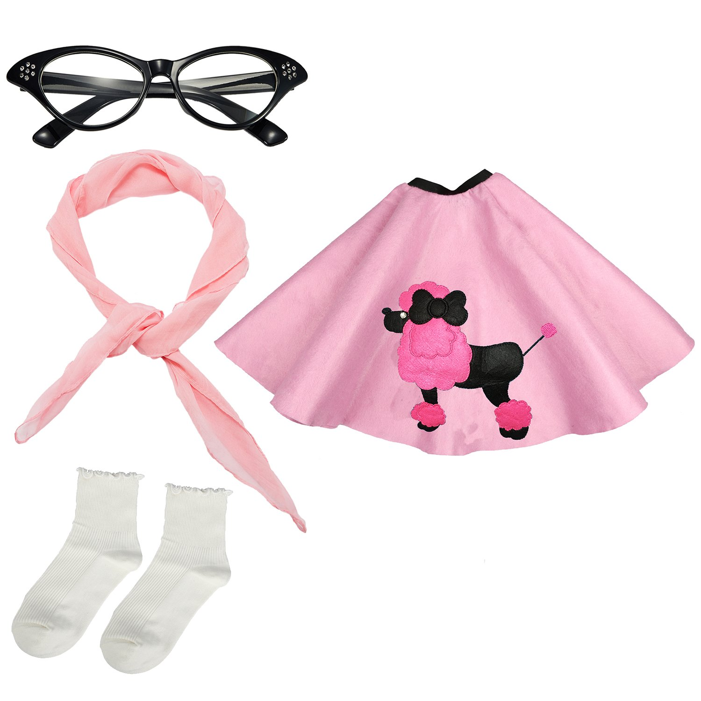 Girls 1950s Costume Accessory Set - Poodle Skirt, Chiffon Scarf, Cat Eye Glasses,Bobby Socks (Pink) by eforpretty