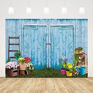 Ticuenicoa 7x5ft Rustic Blue Wooden Door Summer Wedding Garden Scene Baby Shower Photography Backdrop Grassland Floral Photoshot Background Bridal Party Decor Banner Video Studio Photo Booth Props