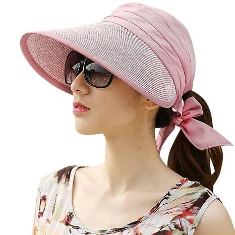 Samber Sombreros Verano con Viseras Grandes Sombreros para Sol para Mujer y  Hombre con Lazo Protección 073b21baa84