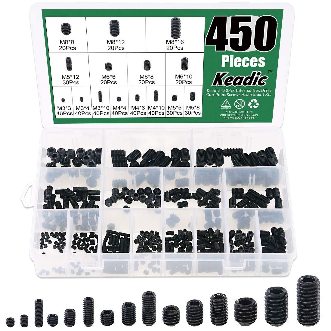 Keadic 450Pcs Internal Hex Drive Cup-Point Screws Assortment Kit, 15 Sizes M3/4/5/6/8 Set Screw Set for Door Handles, Faucet, Light Fixture, 12.9 Class Alloy Steel (Black)