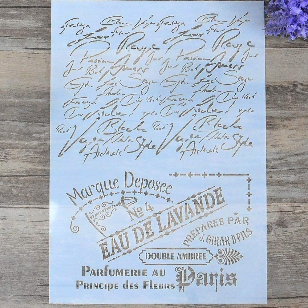 DIY Decorative French Script Stencil Template for Painting on Walls Furniture Crafts (A4 Size)