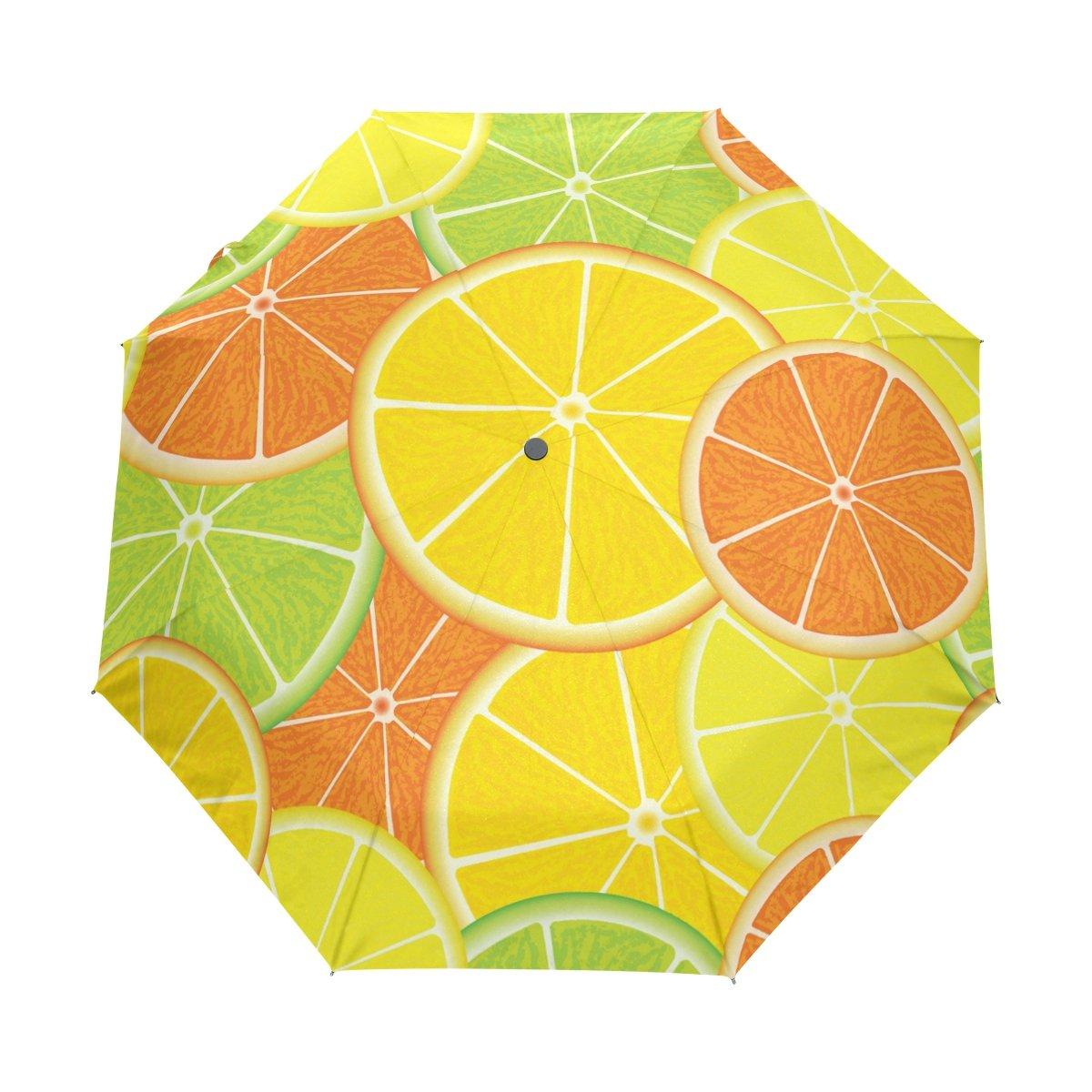Senya Saobao防風と防雨トラベル傘with自動開いて閉じFolding Citrusシームレスなパターンポータブル折りたたみ式太陽雨傘 B07FD7PHSW