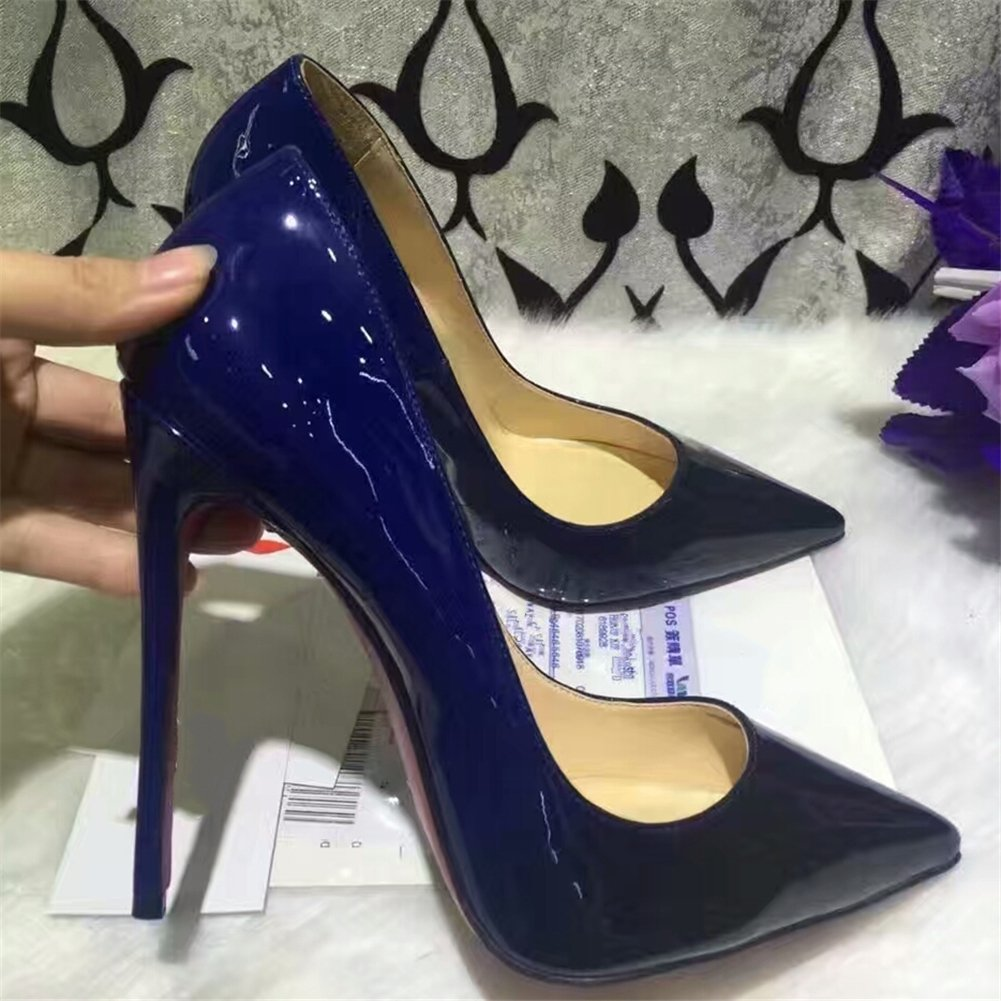 Chris-T Womens Formal Pointed Toe Pumps Basic Shoes High Heel Stilettos Sexy Slip On Dress Shoes Size 4-15 US B07DCMKFKL 9 B(M) US|Navy Blue Black/Red B0tt*m