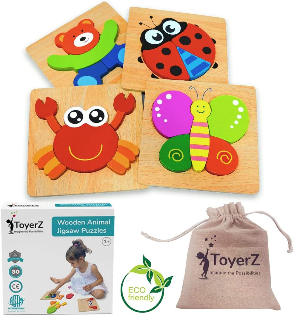 ToyerZ Juguetes de Madera Puzzles Educativos 1 2 3 años,Juguete Montessori Puzles para Bebes,Dibujo de Animales Montessori 1 año Regalo Cumpleaños y Navidad.