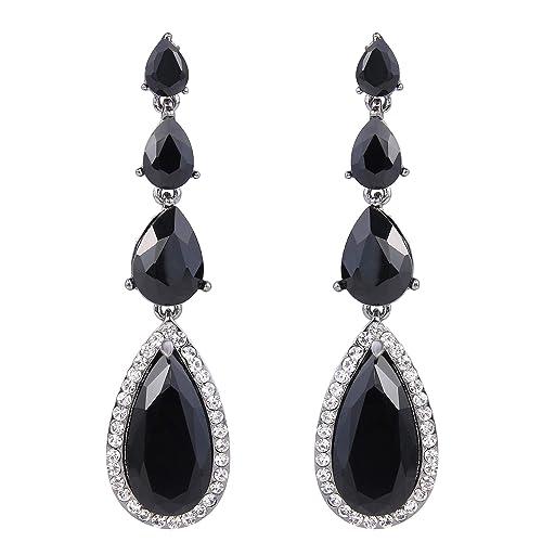 07841a5c5 BriLove Wedding Bridal Dangle Earrings for Women Elegant Multi Teardrop  Long Chandelier Earrings Black Black-