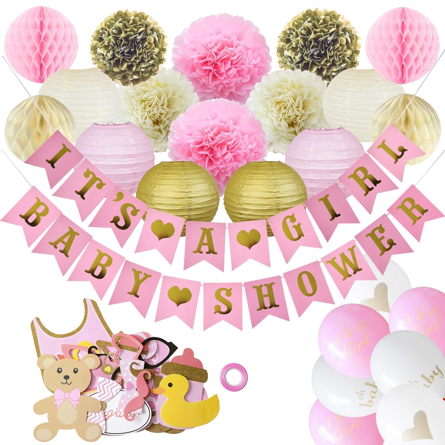 Golden Baby Shower Decorations for Girl (80PCS)