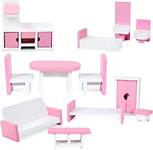 Beverly Hills Doll Collection TM Wooden Dollhouse Furniture Set, 12 Piece Fully Assembled Pretend Playhouse Set