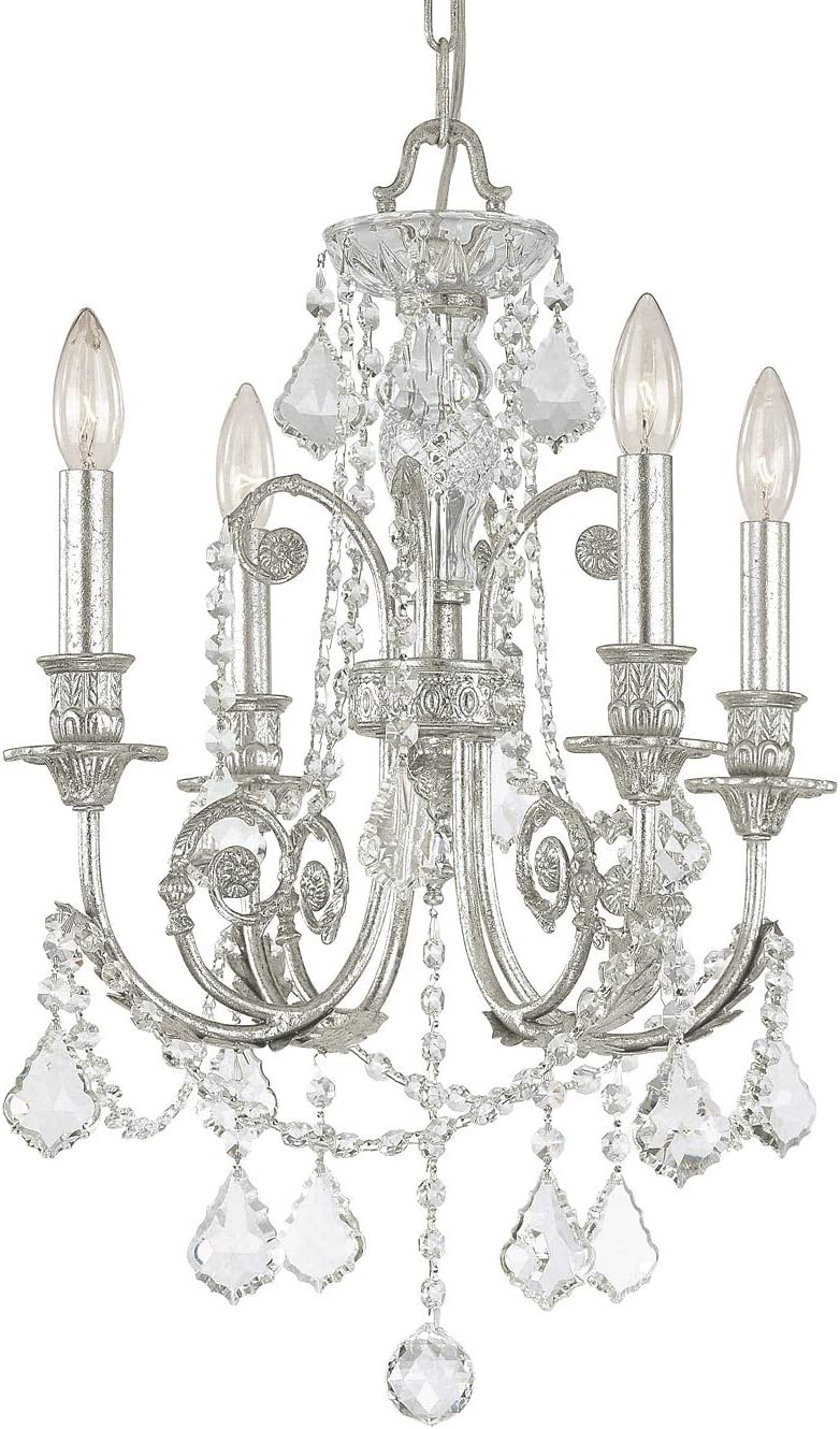 Crystorama 5114-OS-CL-MWP Crystal Accents Four Light Mini Chandeliers from Regis collection in Pwt, Nckl, B S, Slvr.finish,