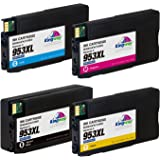 Kingway 953XL Ink Cartridges for HP 953 953XL Inks Cartridge Compatible with HP OfficeJet Pro 8710 8720 8725 8728 8730 8740 7740 8218 8715 8718 8719 Printer Black/Cyan/Magenta/Yellow High Yield 4 Pack