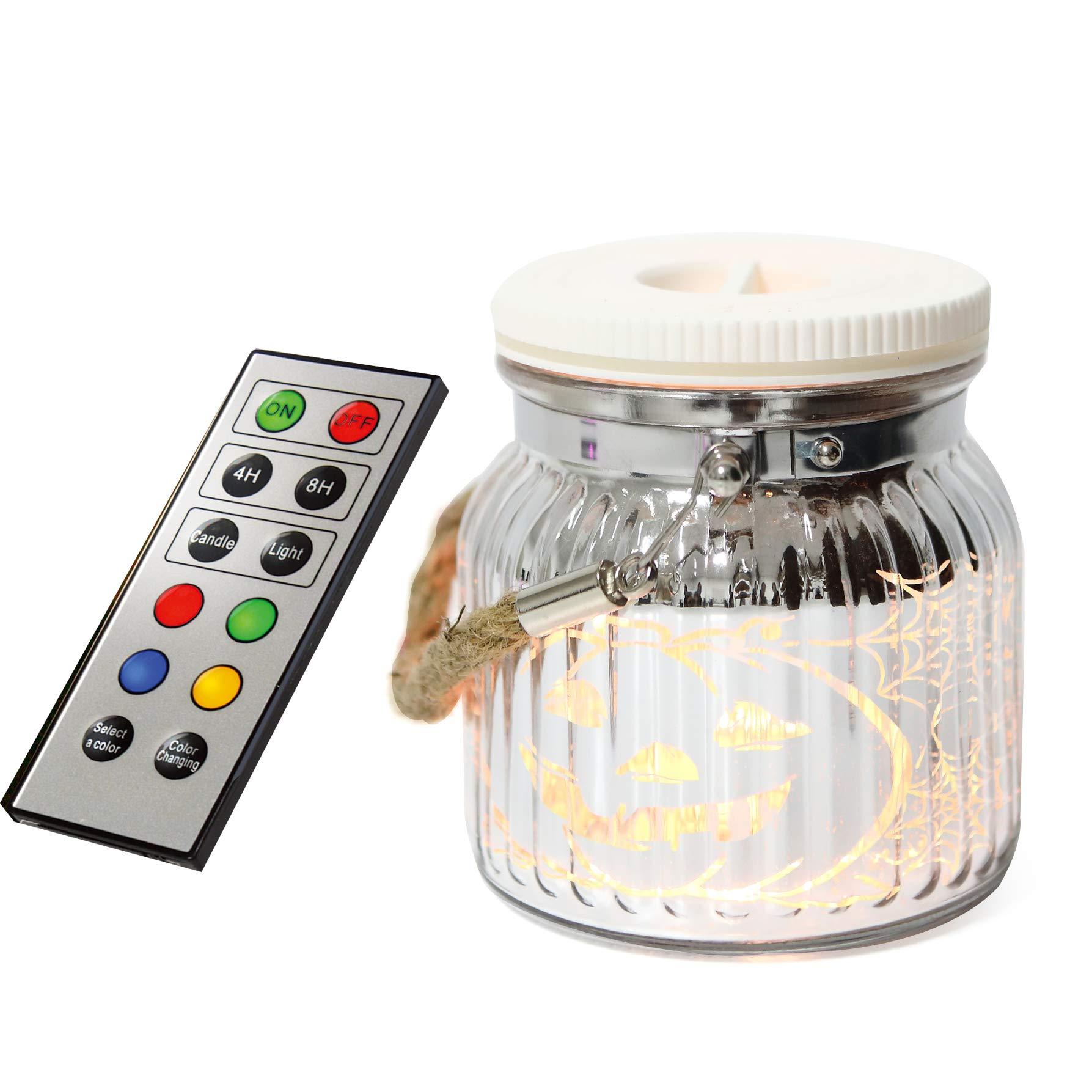 iZAN Mason Jar Light Indoor Outdoor Glass Jar Light Battery Operated Lantern with Remote and Timer Halloween Light, Pumpkin, Halloween Home Garden Party décor Light