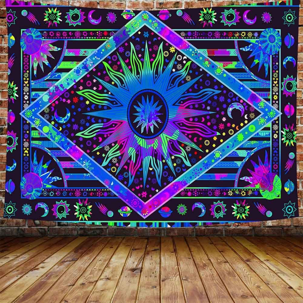 "DBLLF Psychedelic Burning Sun Tapestry Large 80""x 60"" Cotton Art Tapestries Celestial Sun Moon Tapestry Wall Hanging Boho Tapestry Hippie Blue Tapestry for Living Room Bedroom Dorm DBLX024"