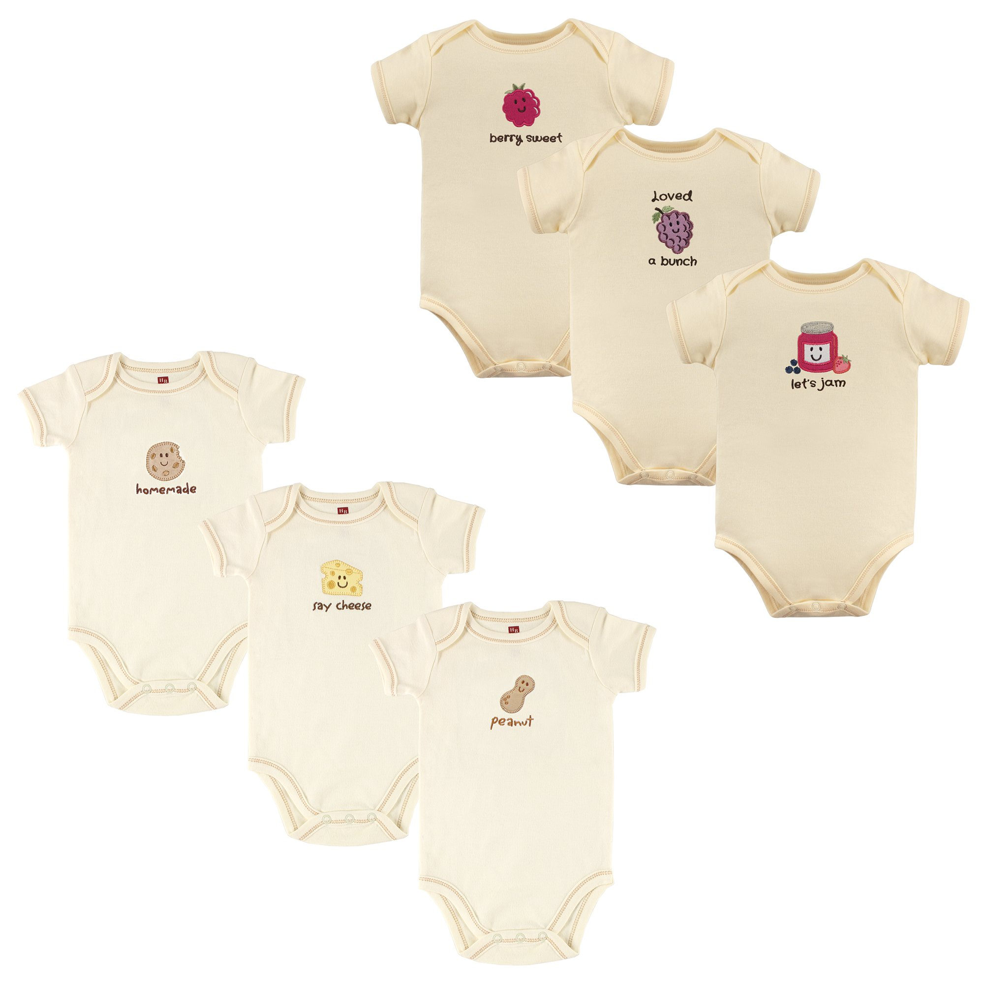 Touched by Nature Baby Organic Cotton Bodysuits, Peanut Jam 6Pk, 6-9 Months (9M)