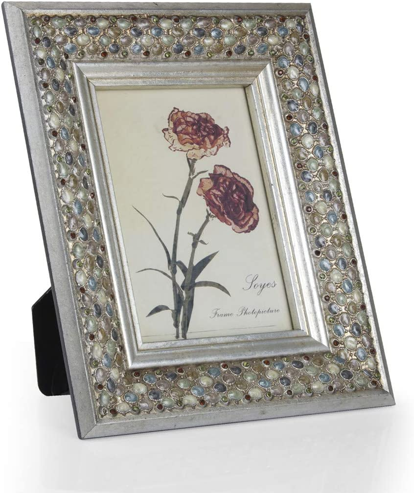 PASTRACES 5x7 Picture Frames Antiqued Enamel Silver with Mat Tabletop Wall Display Wood Photo Frame CH0022