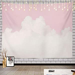 Batmerry Sky Pink Pastel Tapestry, White with Pastel Pink and Blue Love Picnic Mat Beach Towel Wall Art Decoration for Bedroom Living Room Dorm, 59.1 x 82.7 Inches, Soft Pink
