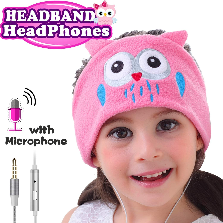 Kids Headphones with Microphone – 85dB Volume Limited Boys Girls Sleeping Headsets Ultra-Thin Speakers Earphones Fleece Soft Headband Children Over-Ear Headphone Gifts for Birthday Christmas