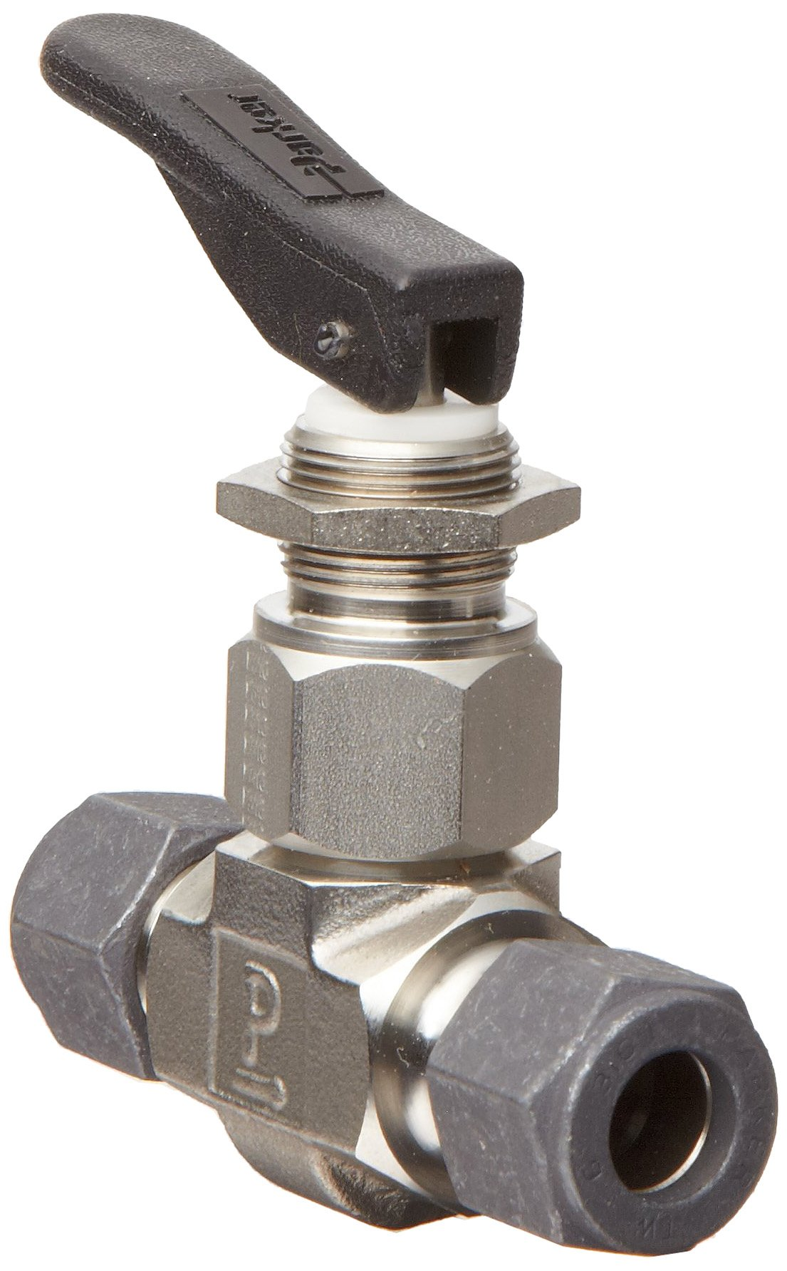 Parker VQ Series Stainless Steel 316 Toggle Valve, Inline, Toggle Handle, PTFE Stem, 3/8'' CPI Compression Fitting