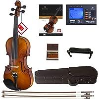 Cecilio CVN-300 Solidwood Ebony Fitted Violin with D'Addario Prelude Strings, Size 1/2