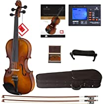 Cecilio CVN-300 Solidwood Ebony Fitted Violin with D'Addario Prelude Strings, Size 3/4: Amazon.sg: Electronics