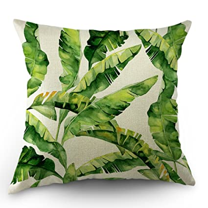 Terrific Moslion Palm Leaf Pillow Decorative Leaf Throw Pillow Cover Tropical Jungle Banana Leaves Pillow Case 18X18 Inch Cotton Linen Square Cushion Cover Ocoug Best Dining Table And Chair Ideas Images Ocougorg