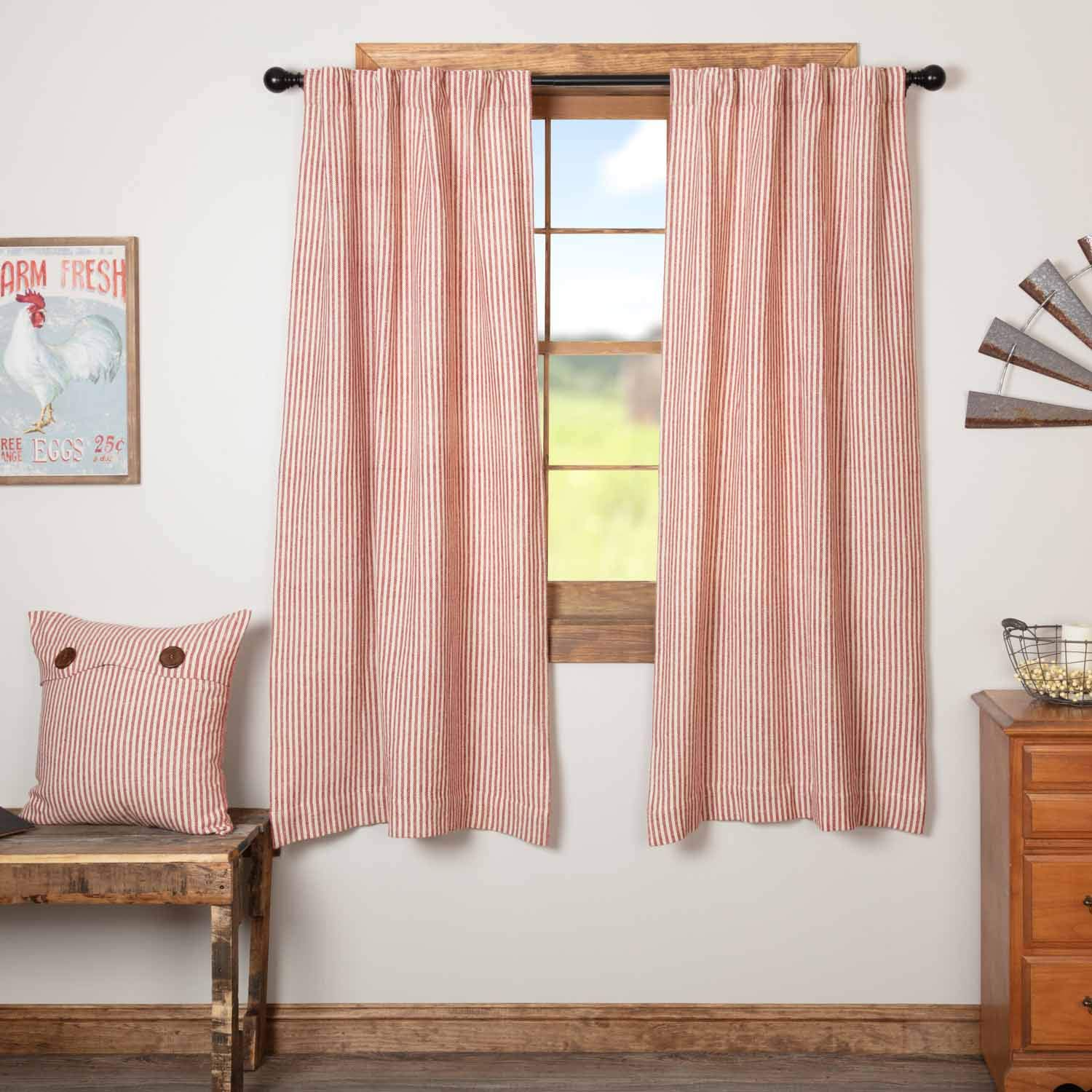 "Homespun Red Ticking Panel Curtains, Set of 2, 63"" Long, Primitive, Country, Farmhouse Style Window Drapes"