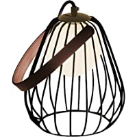 Abajur Bella Iluminação Lamp Preto/ Branco/ Marrom Metal, Vidro e Couro Sintetico
