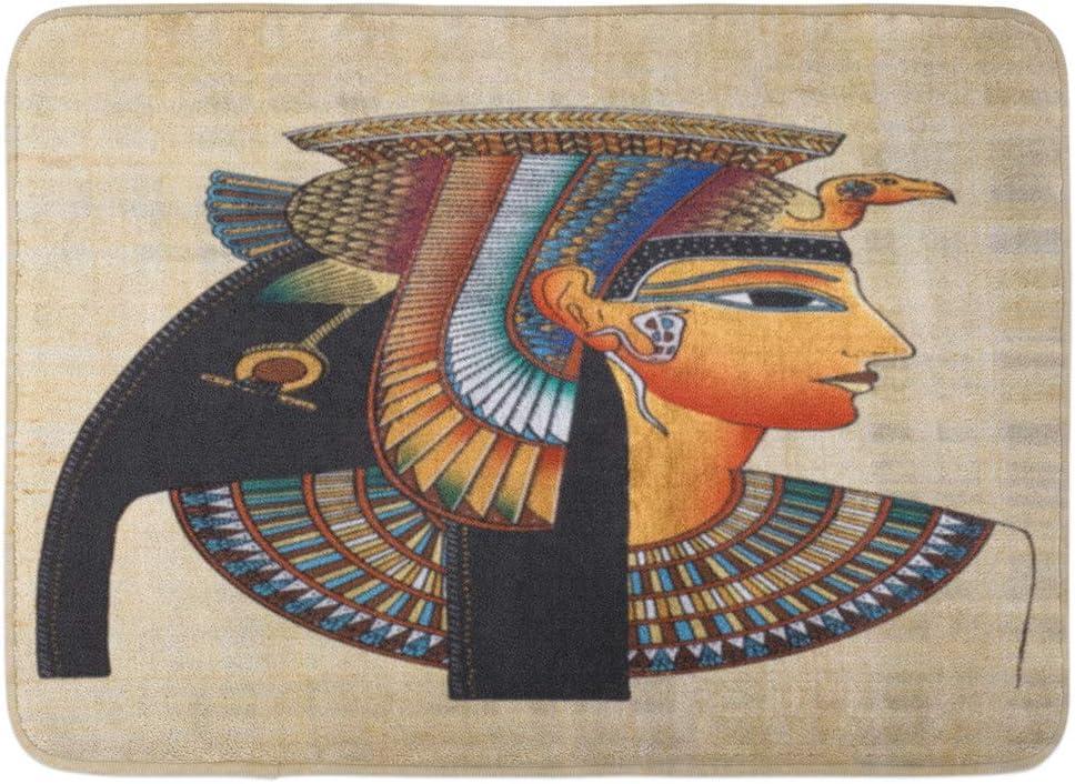 LXJ-CQ Felpudos Alfombras de baño Alfombrilla para la Puerta Faraón marrón Papiro Egipcio Antiguo Amarillo Nefertiti Egipto Pintura 19.5