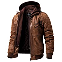 FLAVOR Men's Leather Biker Jacket with Removable Hoodie Brown Suede Pigskin