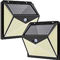 Luz Solar Exterior 350 LED, Hepside Focos LED Exterior Solares【3 Modes/2 Pack】270°…