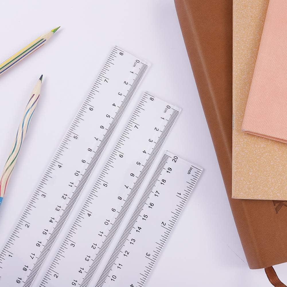 aulas ni/ños suministros de oficina regla de pl/ástico irrompible herramienta de medici/ón transparente para la escuela 8 pulgadas upain Regla transparente de 20 cm