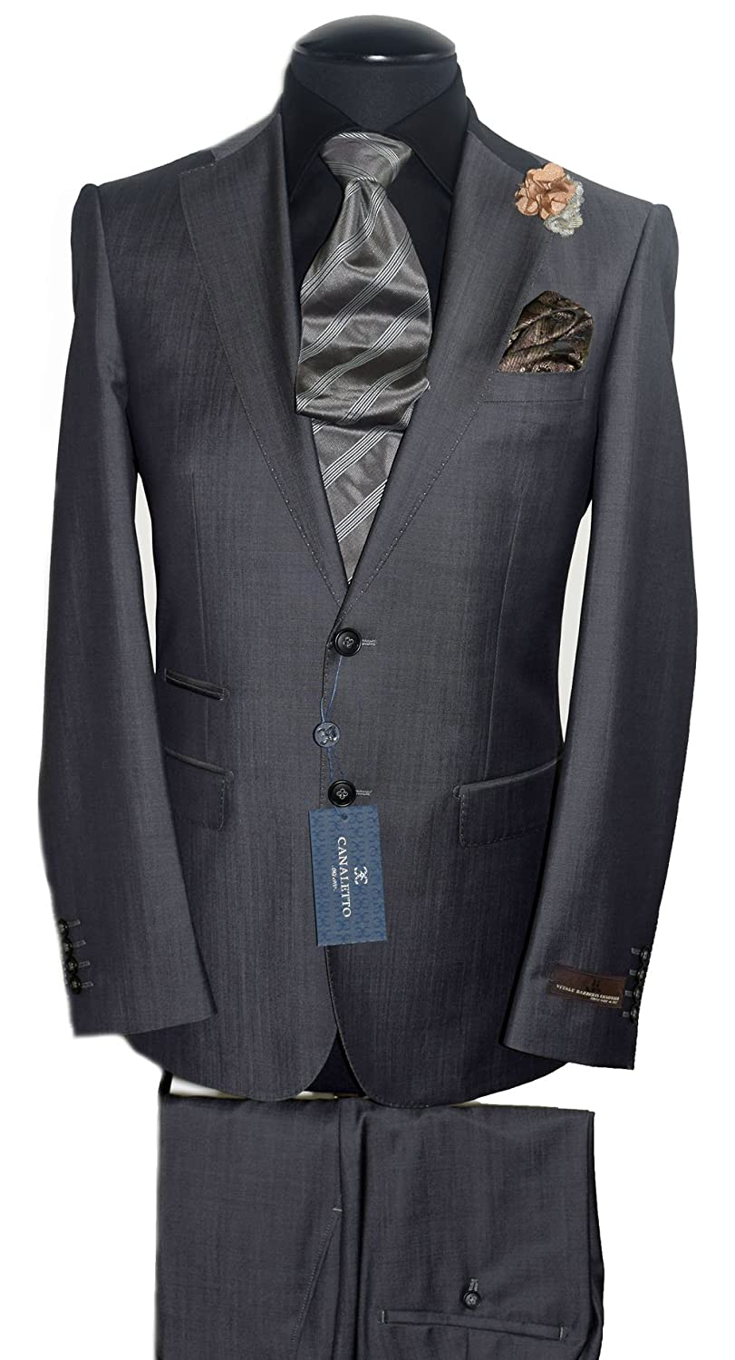 bc59a7af0a2 Tiglio Vitale BARBERIES CANONICO Superfine Wool Suit Canaletto~Shiny Grey  Sharkskin~Model  MOLINARA 876601 1761 at Amazon Men s Clothing store