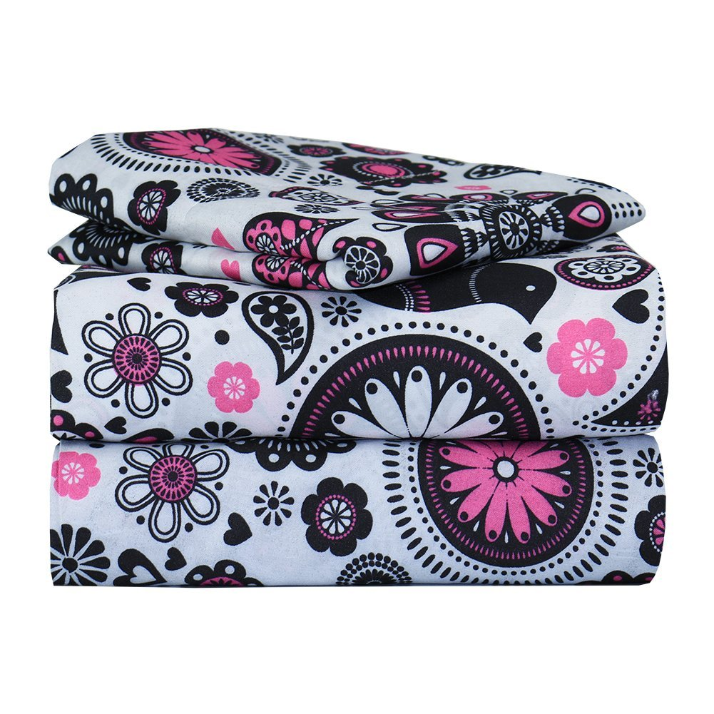 Pink and Black Floral Bed Sheet Set