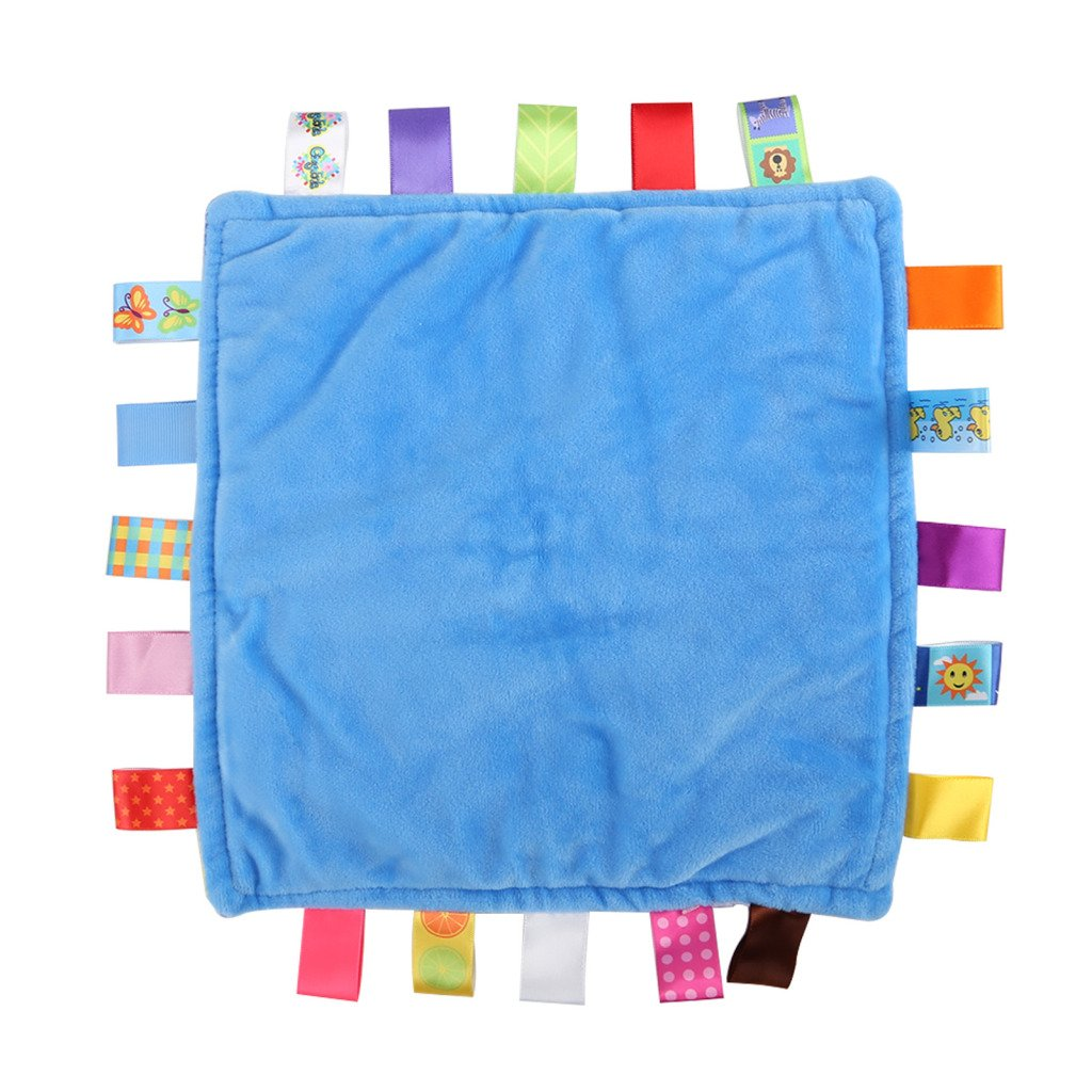 Shoze Baby Taggy Blanket Soft Touch Bundle Fleece Plush Colourful Security Comfortable Taggie Presant Blue Star