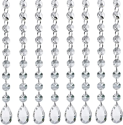 10pcs Acrylic Crystal Clear Beads Garland Chandelier Hanging Wedding Party Decor