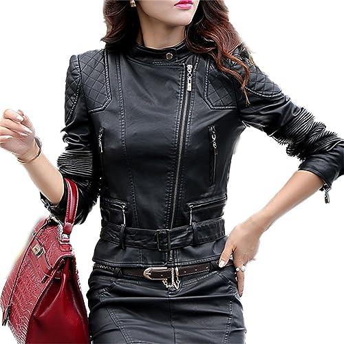 Honghu Chaqueta para Mujer De Manga Larga Imitación Cuero Cazadoras Outwear Entallada Negro Medium