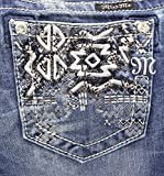 Miss Me Junior's Aztec Embellished Pocket Bootcut Jean, Medium Wash, 27