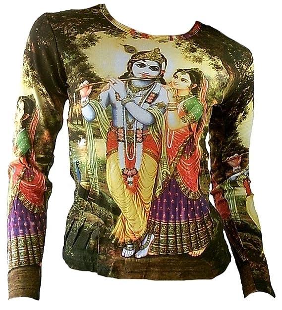 TICILA Mujer Camiseta de Manga Larga Verde Hindú Deities Lord Krishna Y Radha Bhakti con Flauta