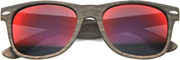 d360787a3d Wood Printed Frame Wide Temple Square Colored Mirror Lens Horn Rimmed  Sunglasses 58mm