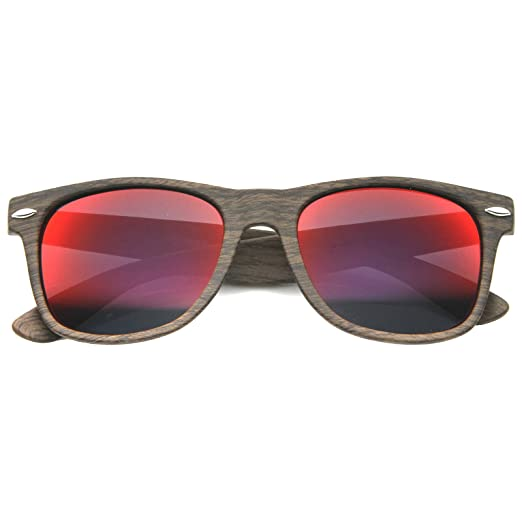 c765b84c73 Wood Printed Frame Wide Temple Square Colored Mirror Lens Horn Rimmed  Sunglasses 58mm (Dark Wood