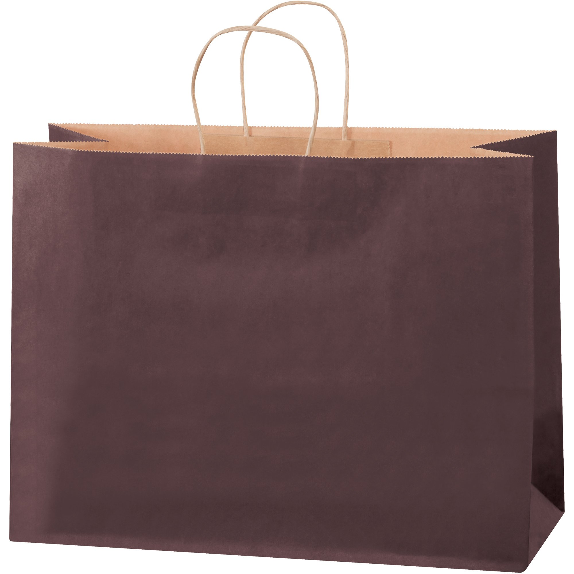 Tinted Shopping Bags, 16'' x 6'' x 12'', Brown, 250/Case