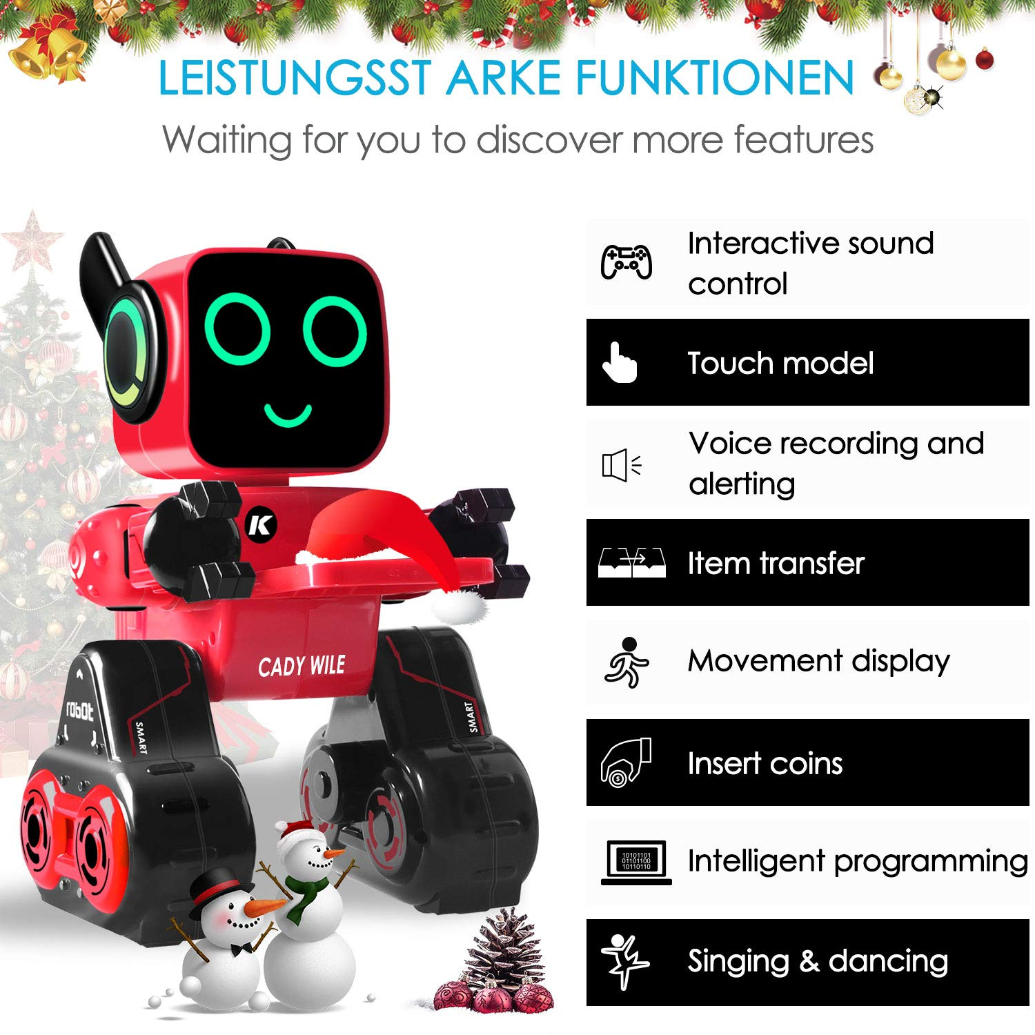 IHBUDS Programmable Remote Control Toy Robot for Kids,Touch & Sound Control, Speaks, Dance Moves, Plays Music. Built-in Coin Bank.Rechargeable RC Robot Kit for Boys, Girls All Ages-Red/Black by IHBUDS (Image #2)