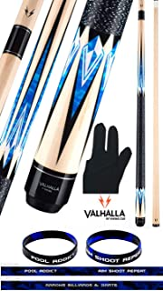 product image for Valhalla VA471 by Viking 2 Piece Pool Cue Stick Linen Wrap, Blue HD Graphic Transfers, Nickel Silver Rings, High Impact Ferrule, 18-21 oz. Plus Billiard Glove & Bracelet