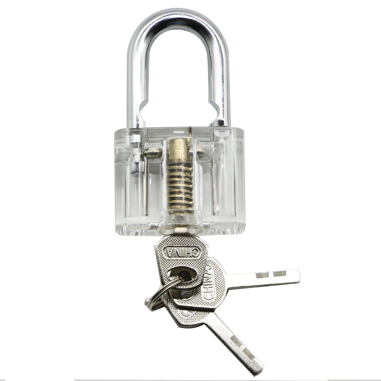 6 Pieces Practice Training Lock Set Lepohome Transparent Cutaway 10pcs Lockpick Tool Crystal Keyed Padlock Picking Tools For Locksmith Beginner
